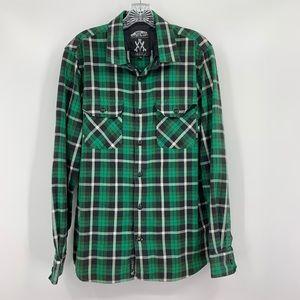 Vans Anthony Van Engelen Green Plaid Shirt, Sz M